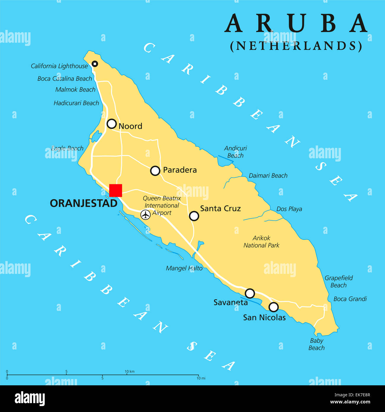 Aruba Political Map with capital Oranjestad and important ...