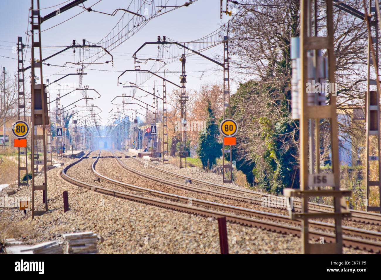 Rails. Barcelona province, Catalonia, Spain. - Stock Image