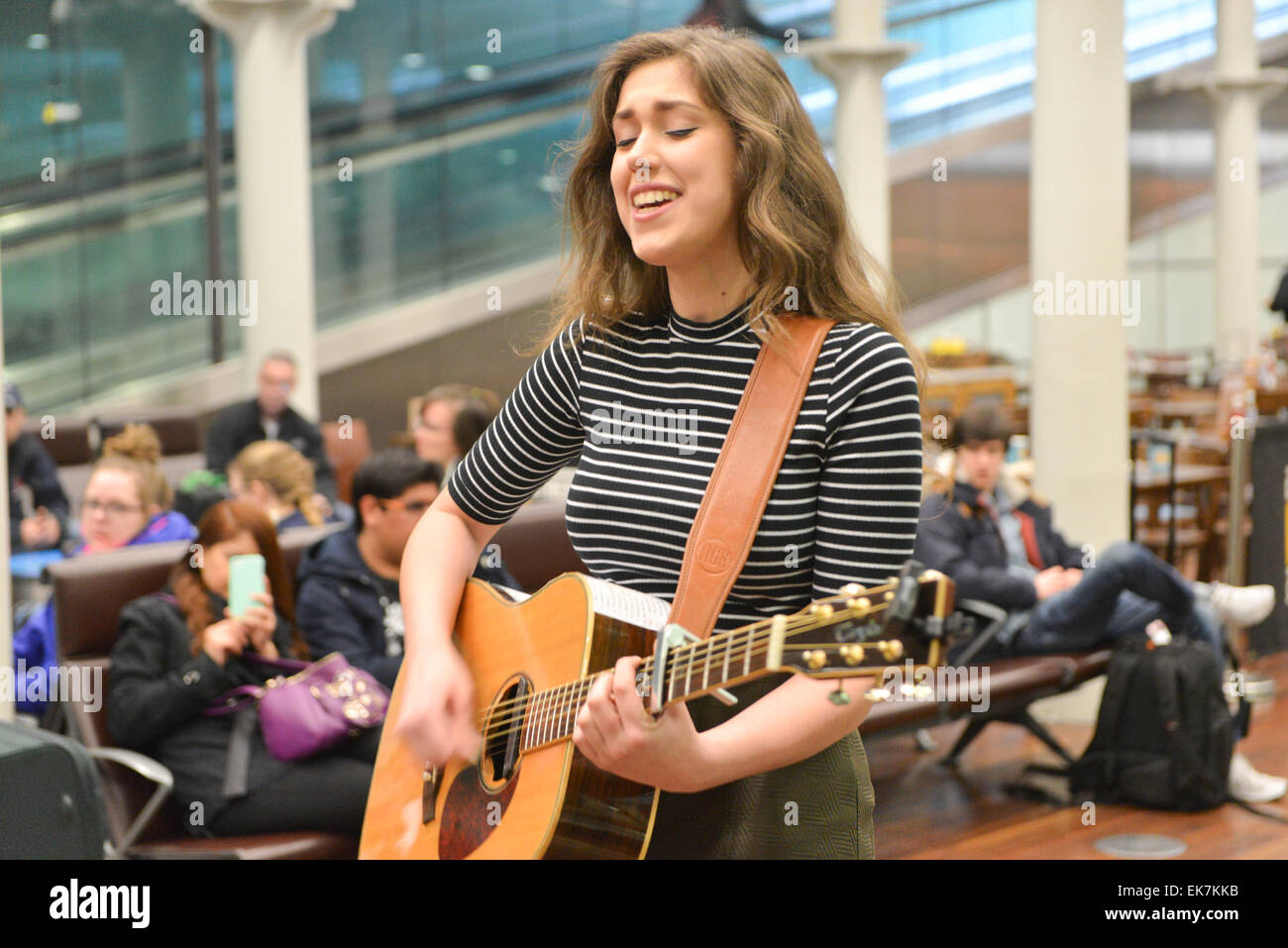 St Pancras International, London, UK. 8th April 2015. Enfield 16 yr old Natalie Shay a student at the BRIT school - Stock Image