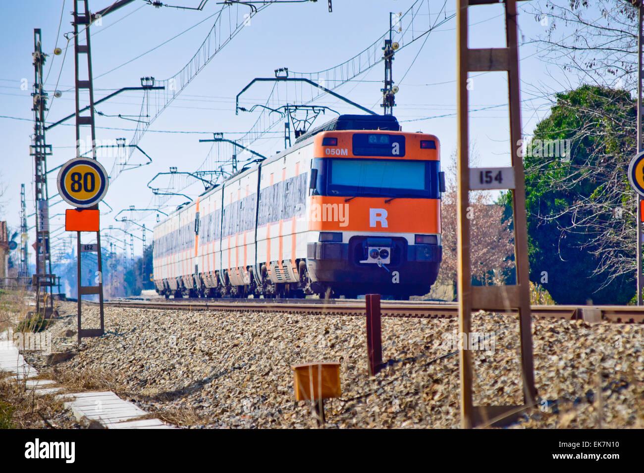 Train. Barcelona province, Catalonia, Spain. - Stock Image