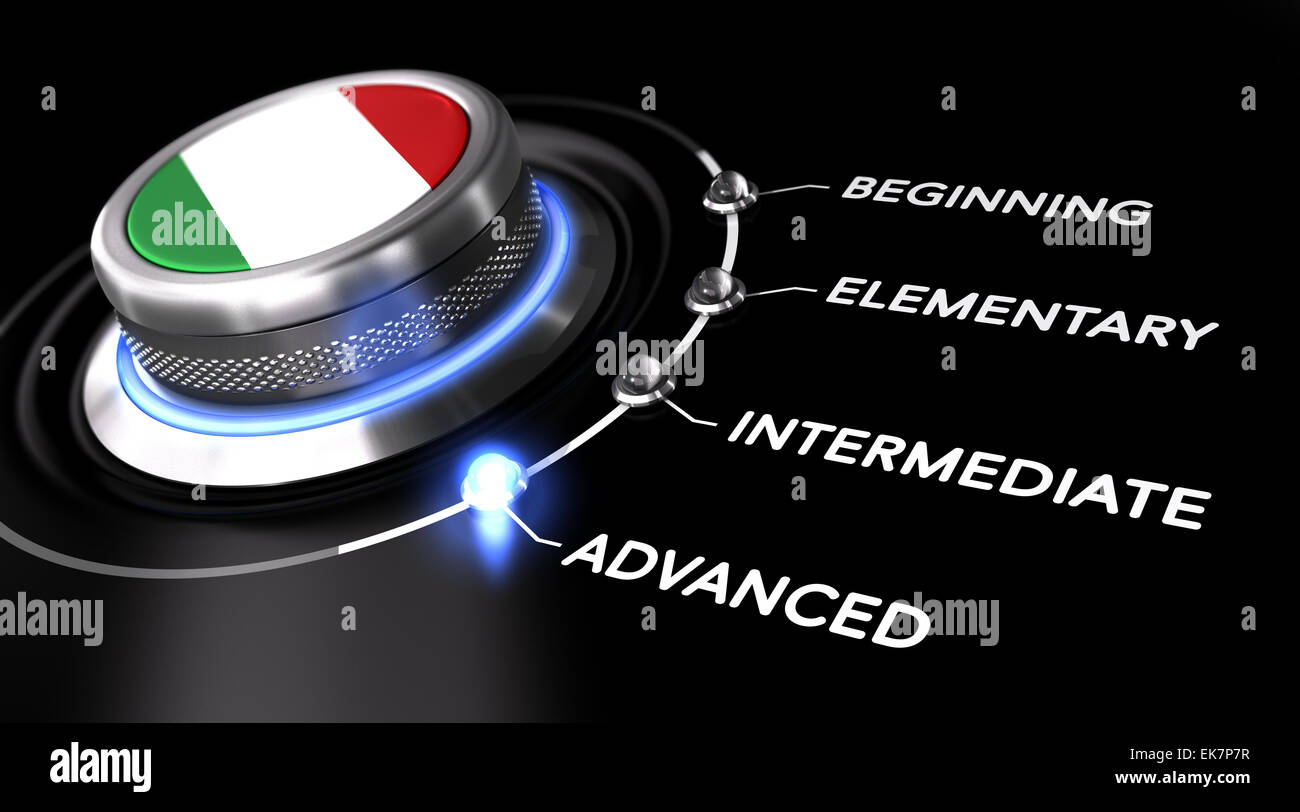 Modern switch pointing the word advanced. Black backgorund. Concept of Italian courses or language skill level - Stock Image