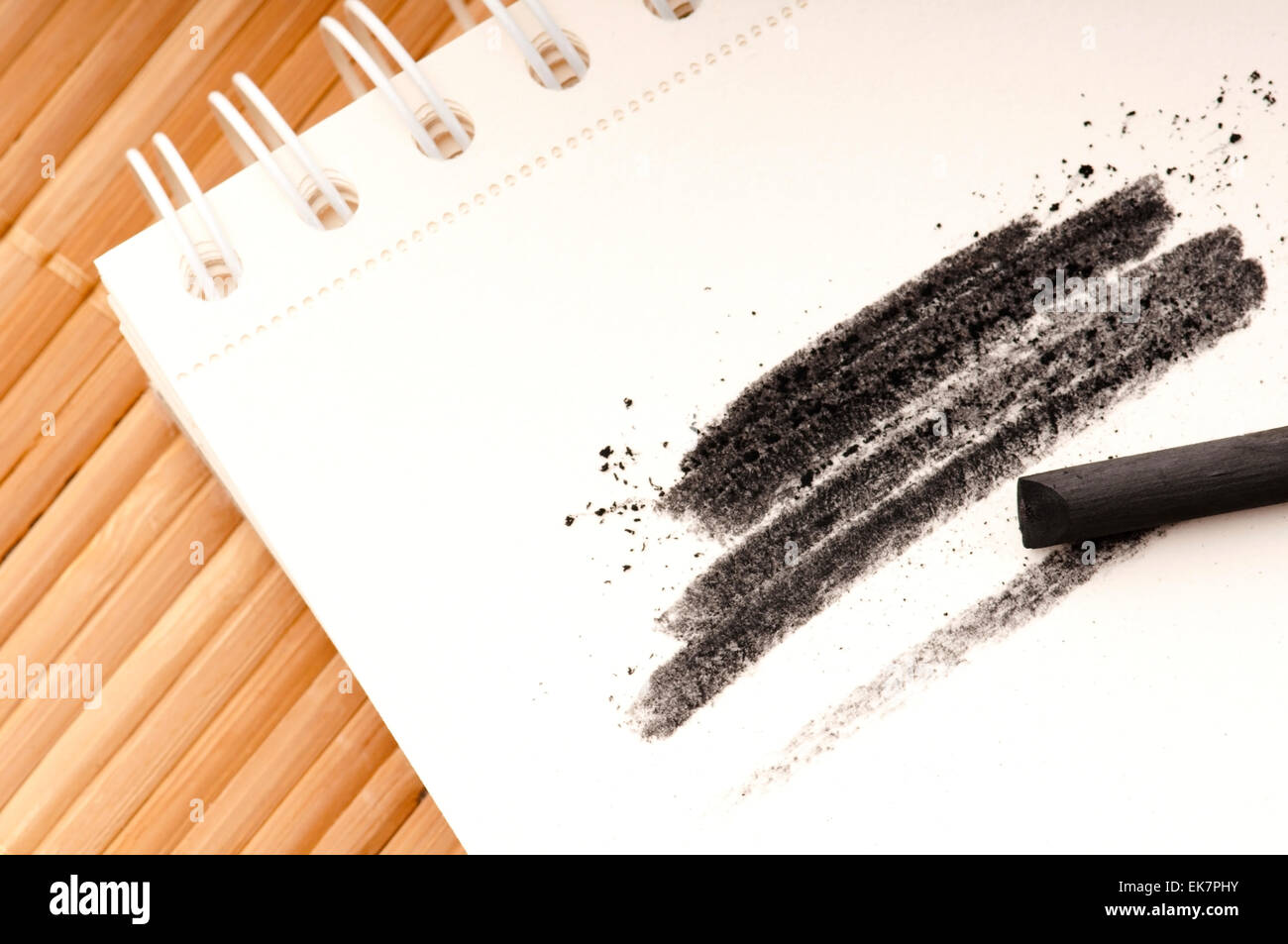 Black charcoal with smudge - Stock Image