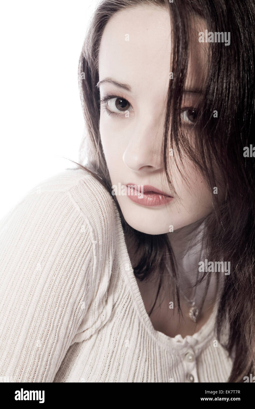 Pretty young brunette looking sturdy - Stock Image