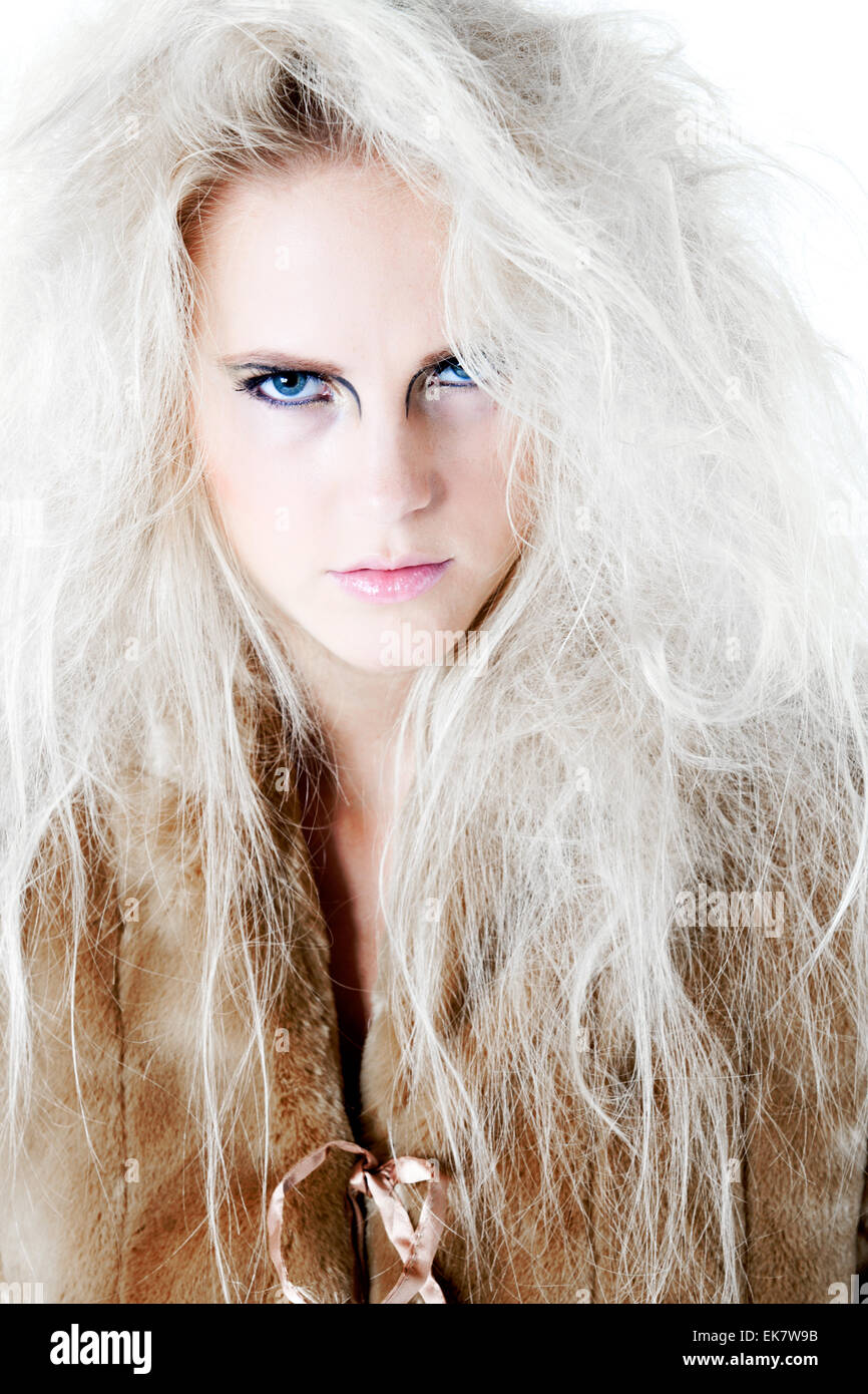 Wild angry fierce look in fur at you - Stock Image