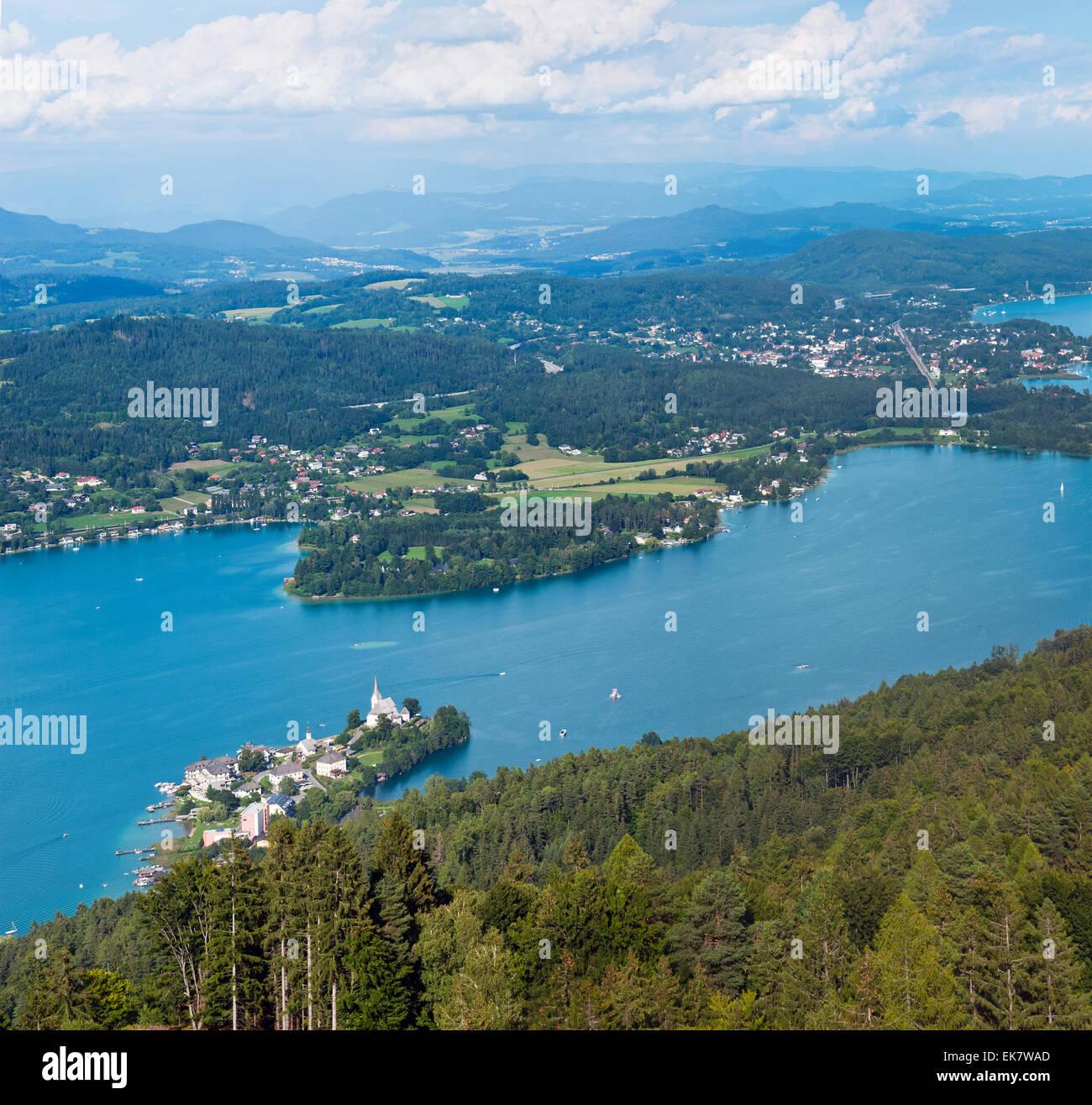 Panorama of Lake W├Ârthersee, bird's-eye view, Austria Stock Photo