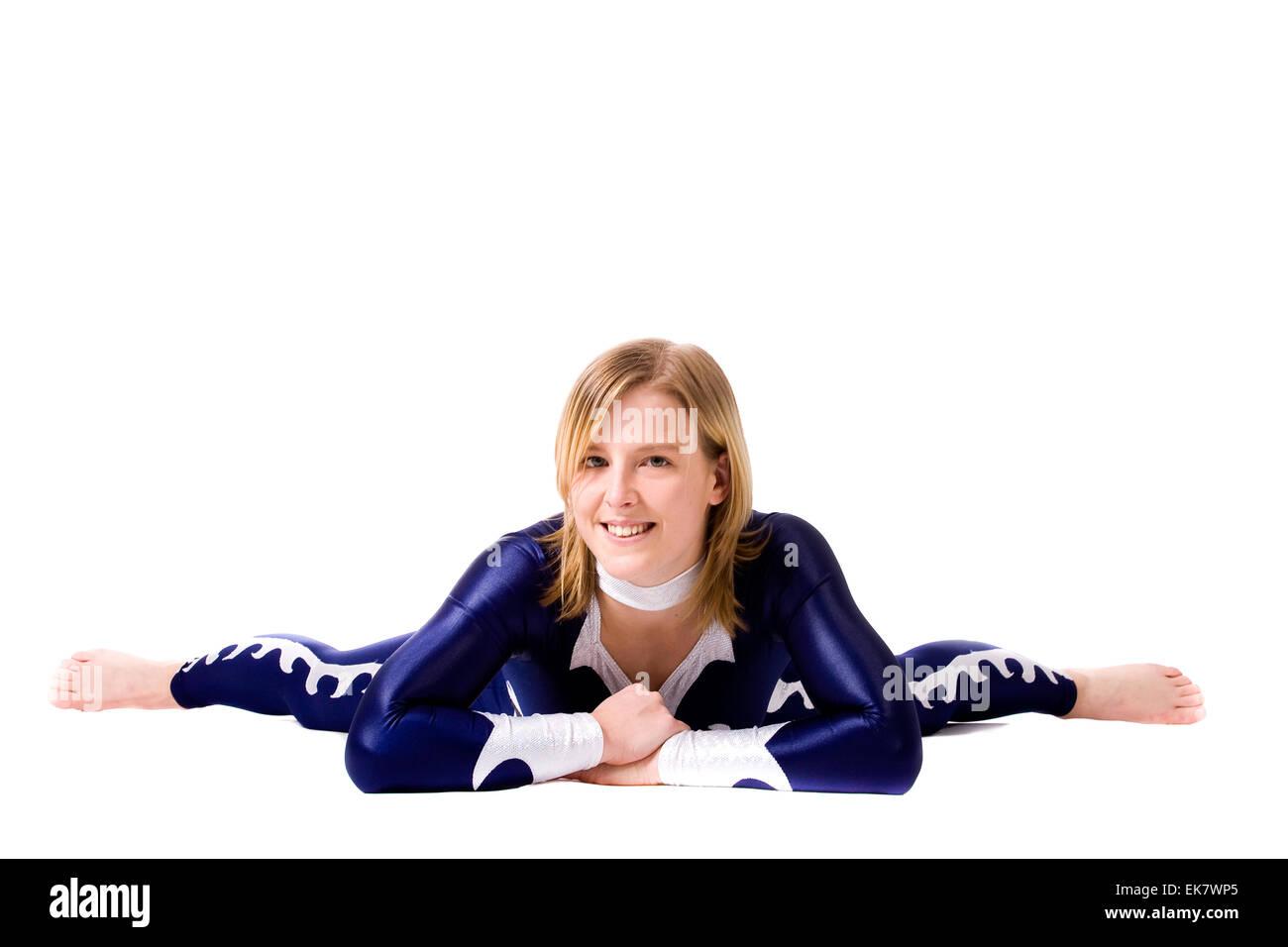 Resting acrobat girl - Stock Image