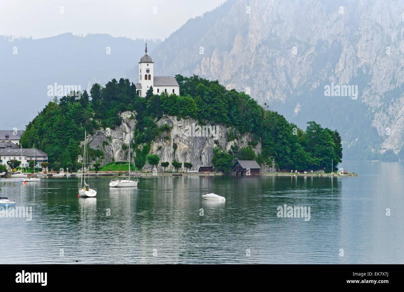 The Church at Lake Wolfgangsee. Stock Photo