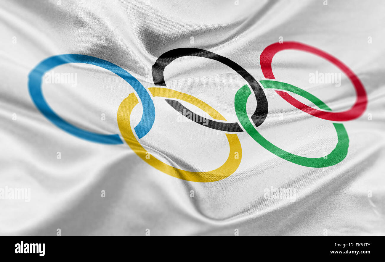 High resolution render of Olympic's flag. - Stock Image