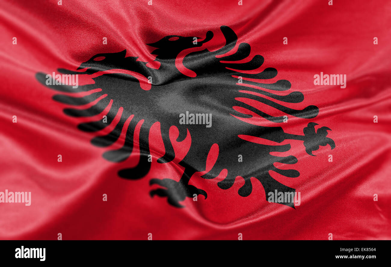 High resolution render of Albania's national flag. - Stock Image