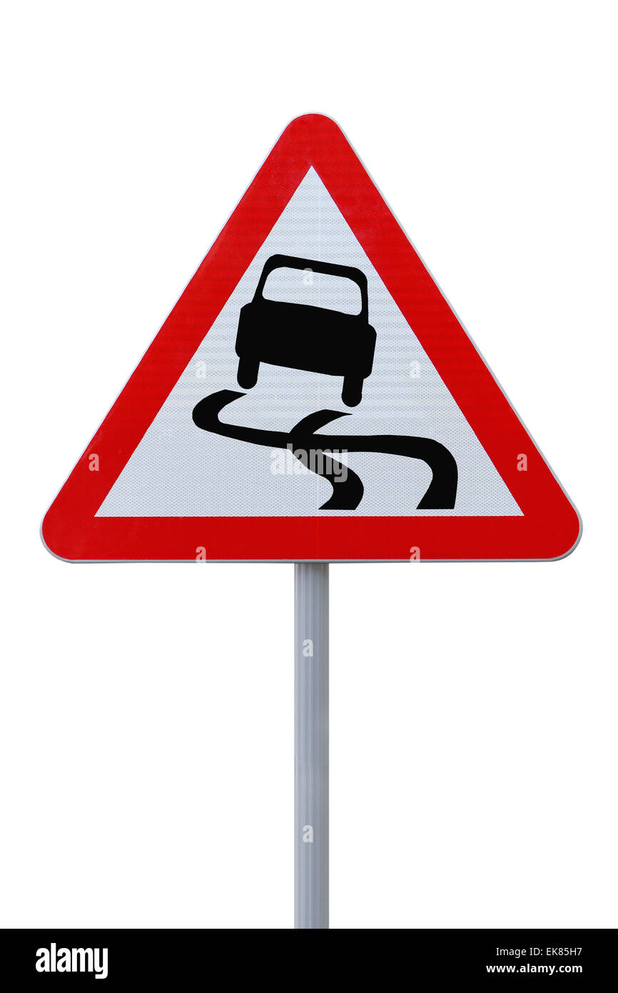 Slippery Road Ahead Stock Photo