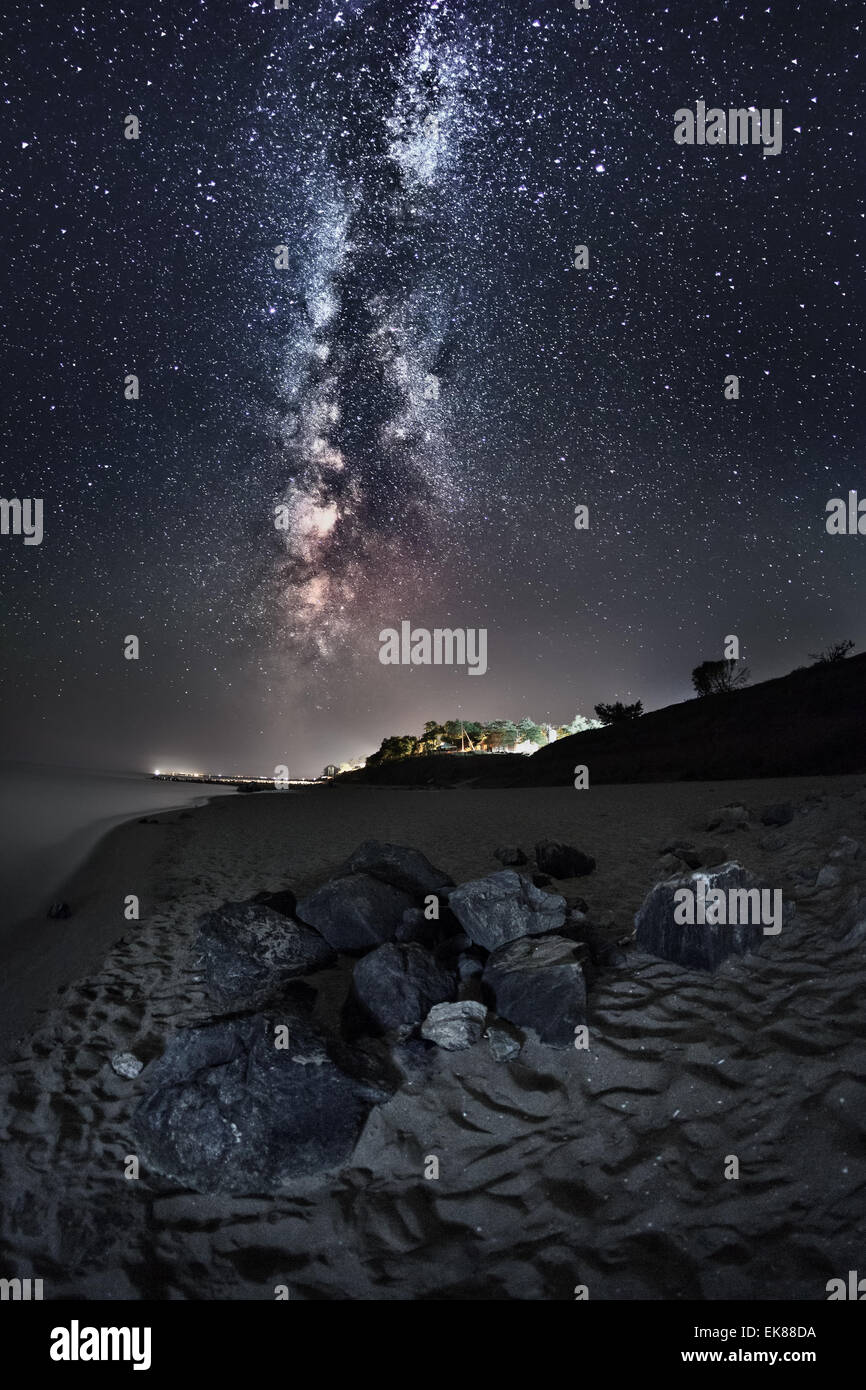 Beautiful Summer Night Sky On The Beach In Ukraine Trail And Stone