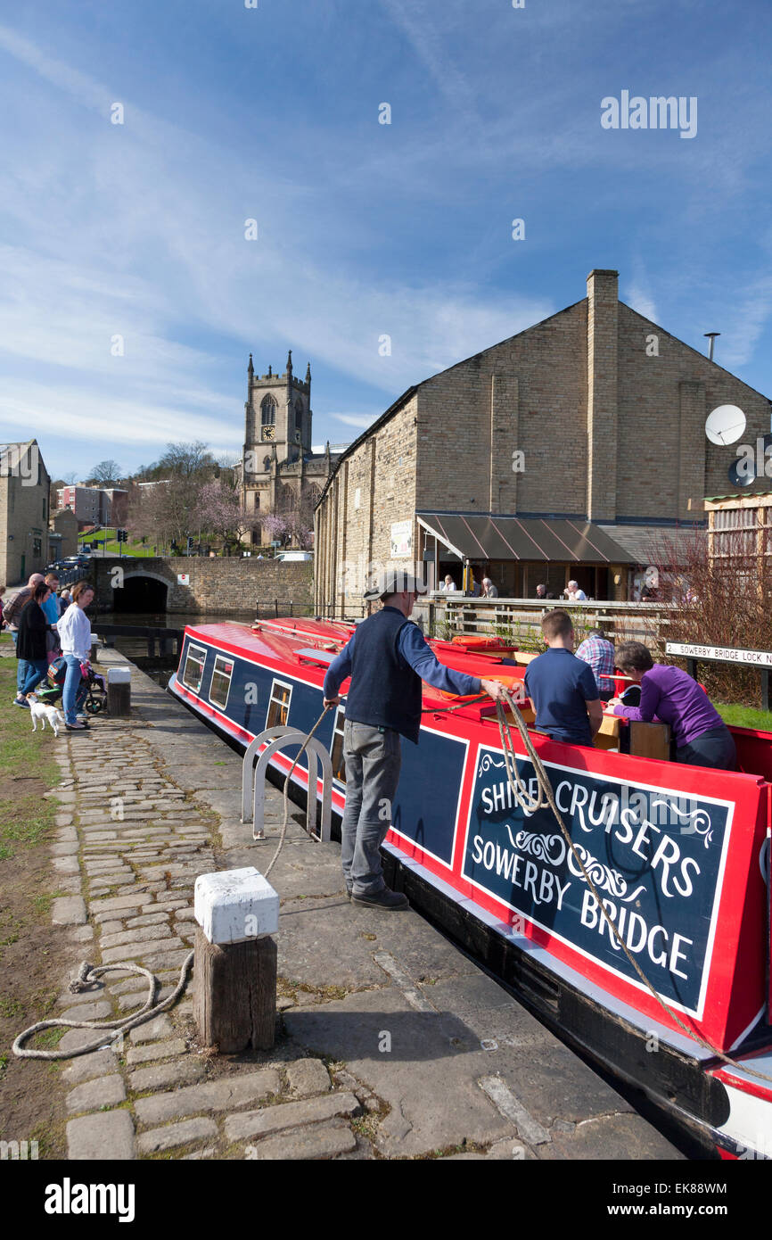 Pair of Shire Cruisers narrowboats in lock on the Rochdale Canal, Sowerby Bridge, West Yorkshire - Stock Image
