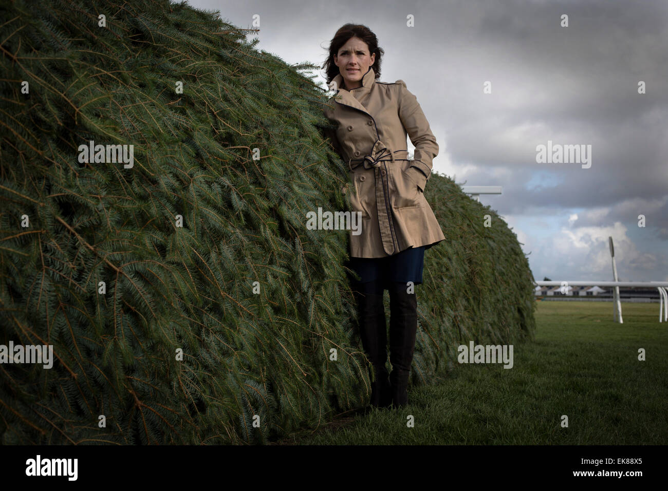 Irish jockey Katie Walsh, pictured next to the Chair, one of the most testing fences on the Grand National course Stock Photo