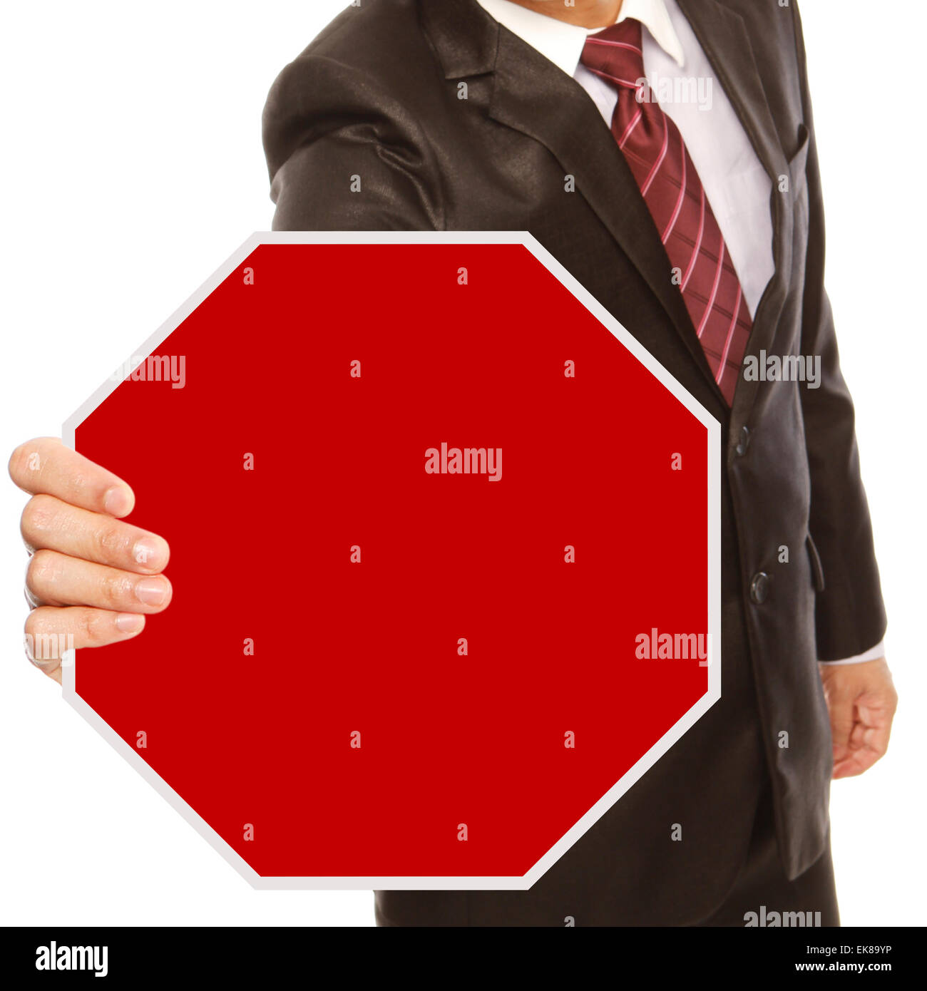 Businessman With Blank Stop Sign Stock Photo: 80703386 - Alamy