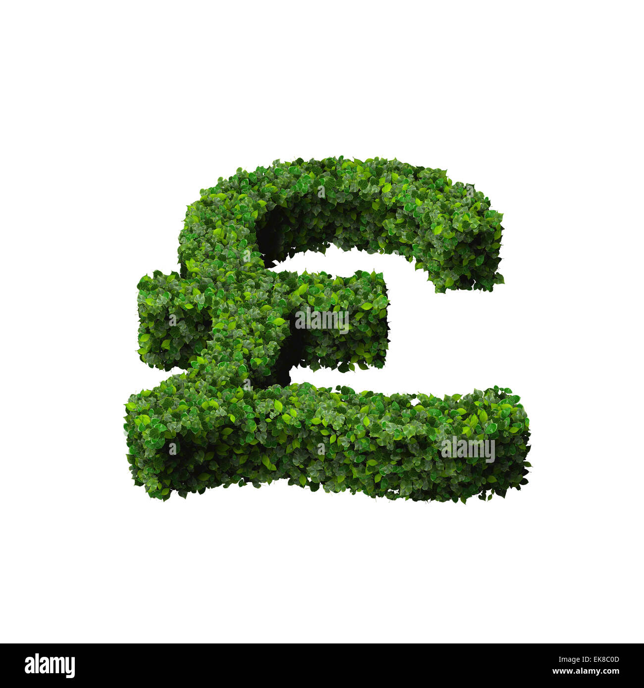 British Pound Currency Symbol Or Sign Made From Green Leaves Stock