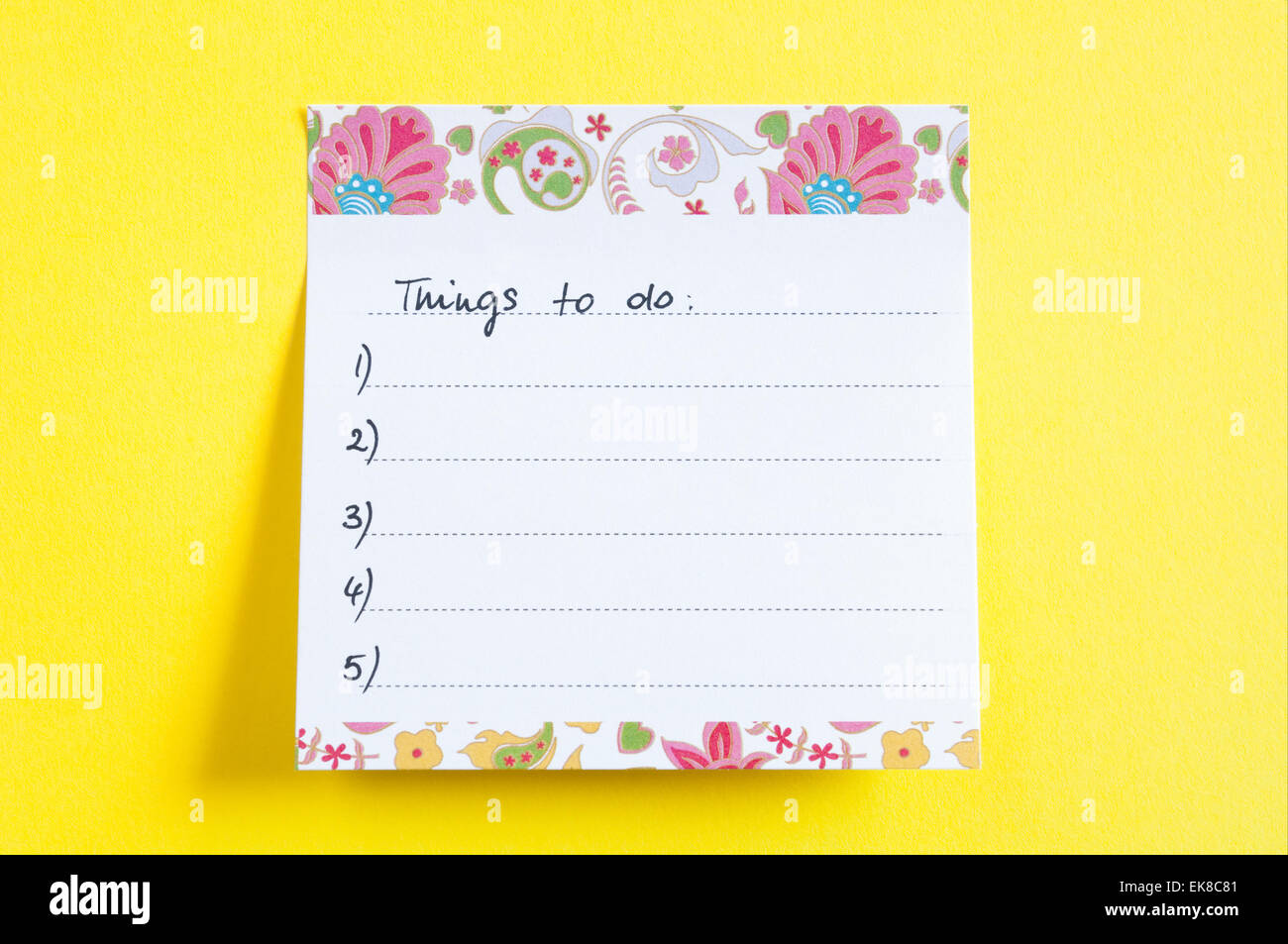Things To Do List - Stock Image