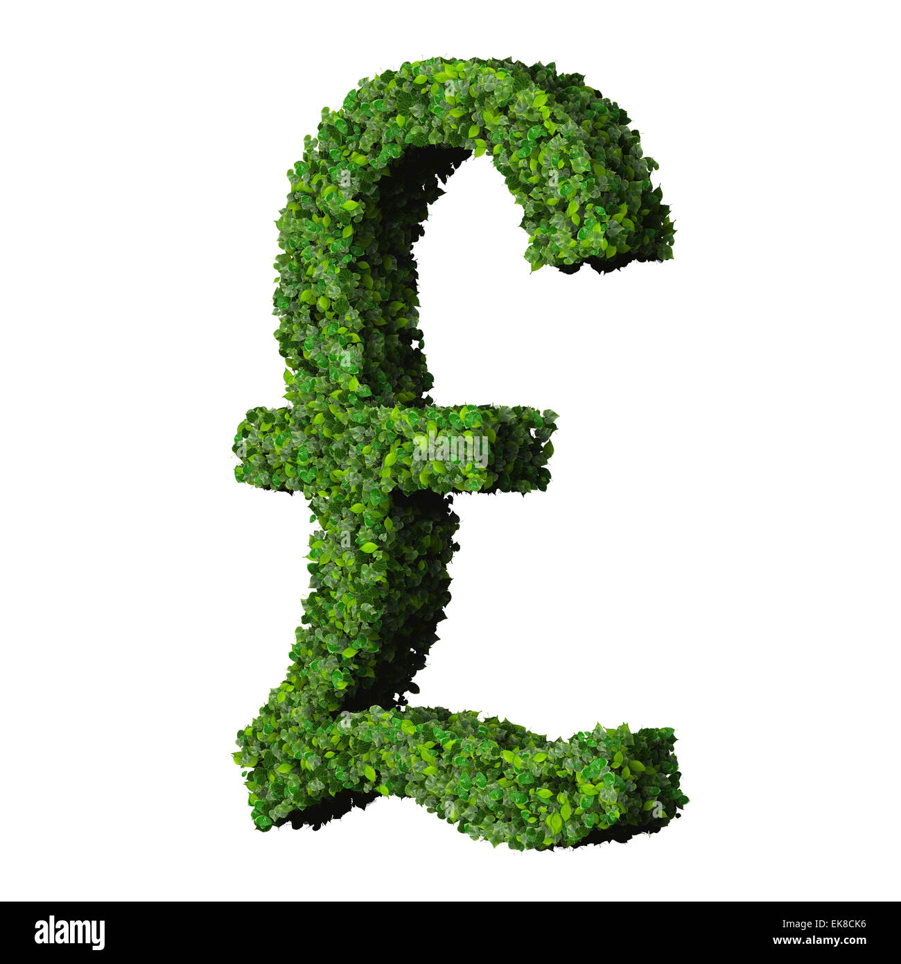 British Pound (currency) symbol or sign made from green leaves isolated on white background. 3d render. - Stock Image
