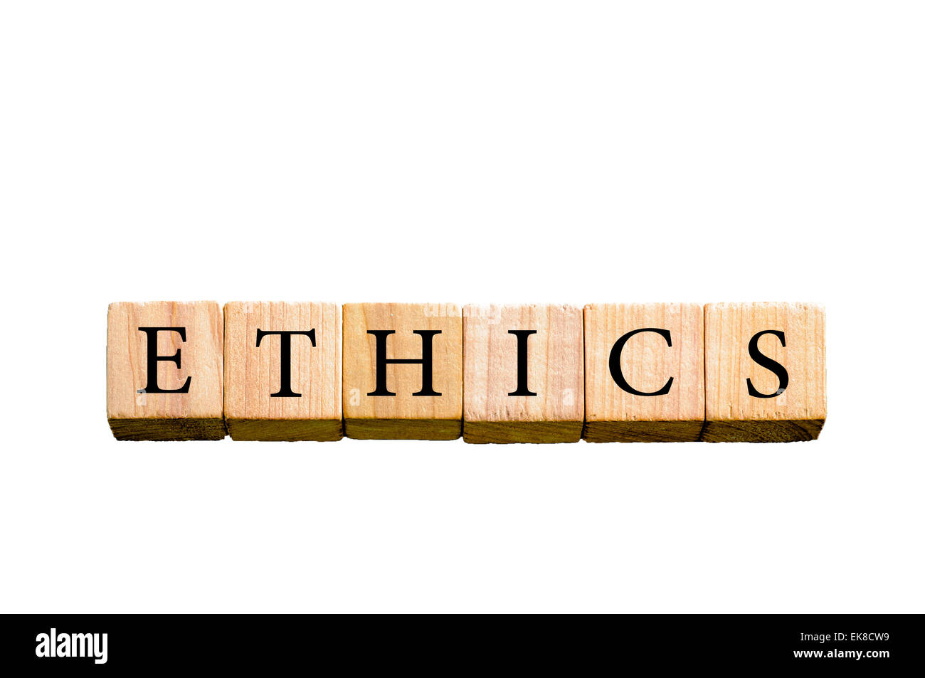 Word ETHICS. Wooden small cubes with letters isolated on white background with copy space available. Concept image. - Stock Image