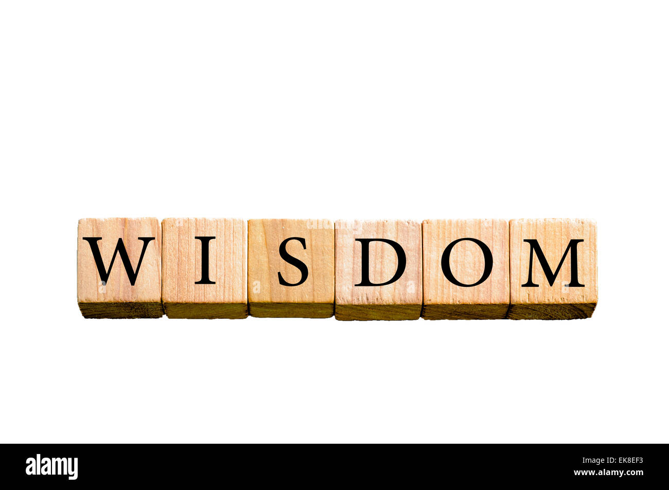 Word WISDOM. Wooden small cubes with letters isolated on white background with copy space available. Concept image. - Stock Image