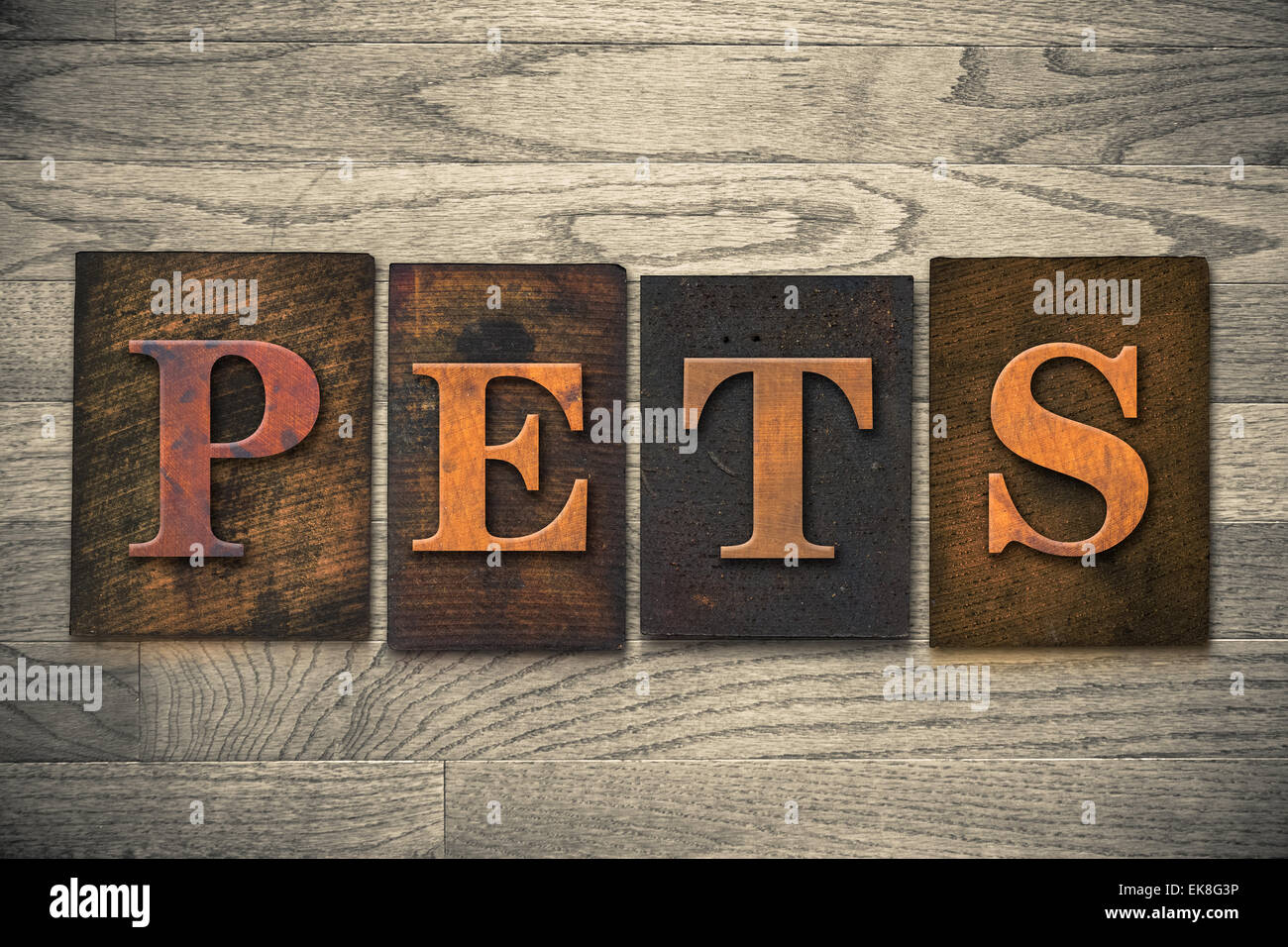 """The word """"PETS"""" theme written in vintage, ink stained, wooden letterpress type on a wood grained background. Stock Photo"""