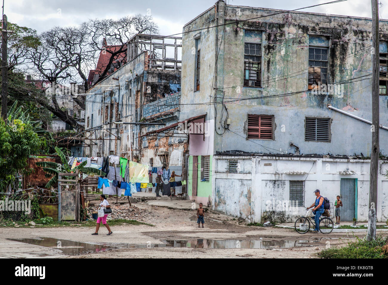 Shanty town with derelict buildings in a suburb of Havana in Cuba Stock Photo