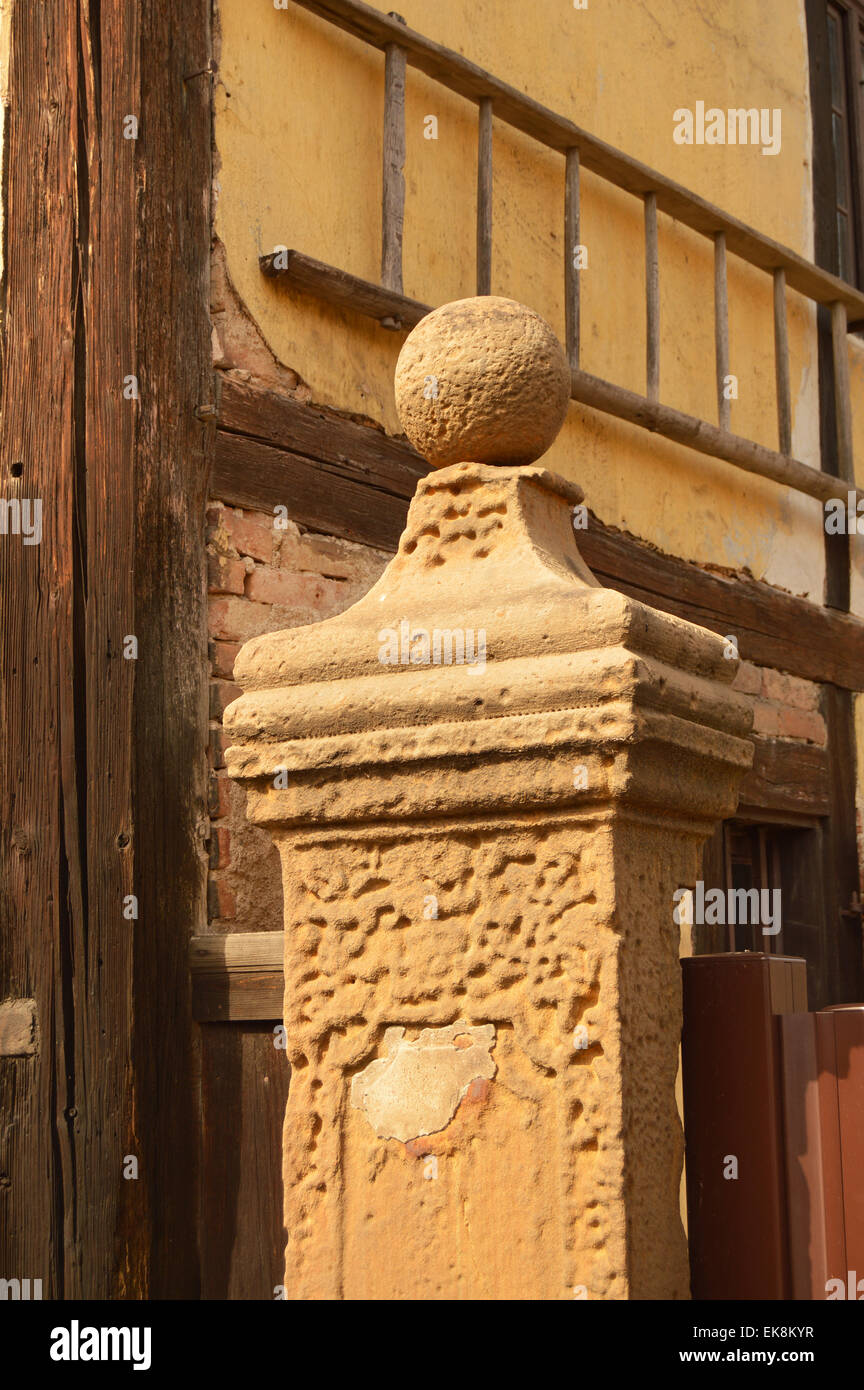 Sandstone pillar affected by acid rain and weathering - Stock Image