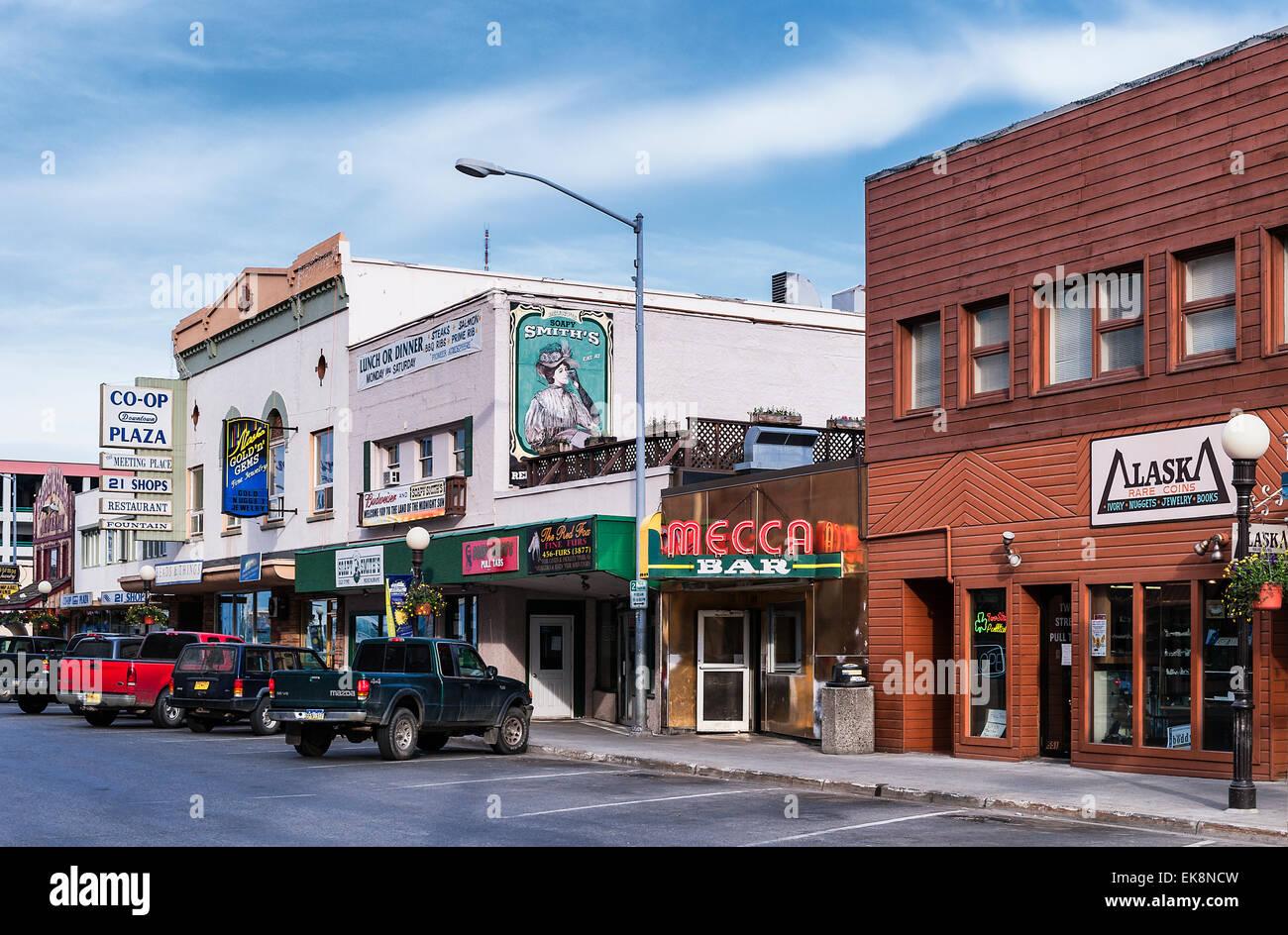 Shops along 2nd street, Fairbanks, Alaska, USA - Stock Image