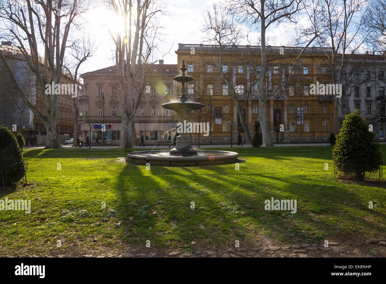Zrinjevac or Josip Juraj Strossmayer park and square, Zagreb, Croatia Stock Photo
