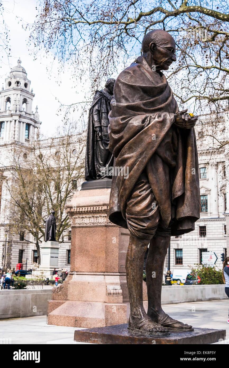 Mahatma Gandhi statue Parliament Square - London - Stock Image