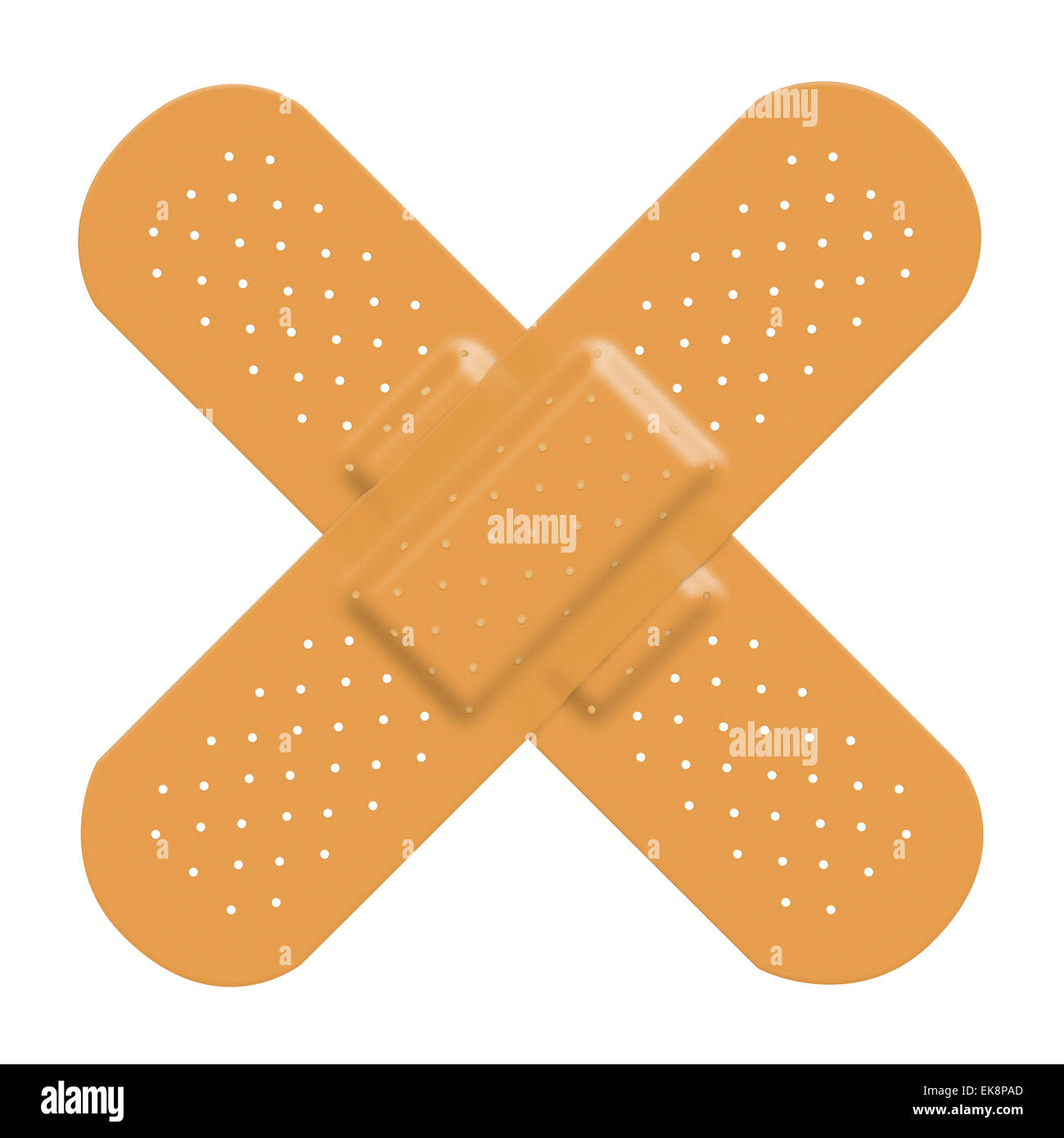 Adhesive bandage plaster cross to represent damage or pain and a solution. Isolated on a white background with clipping - Stock Image