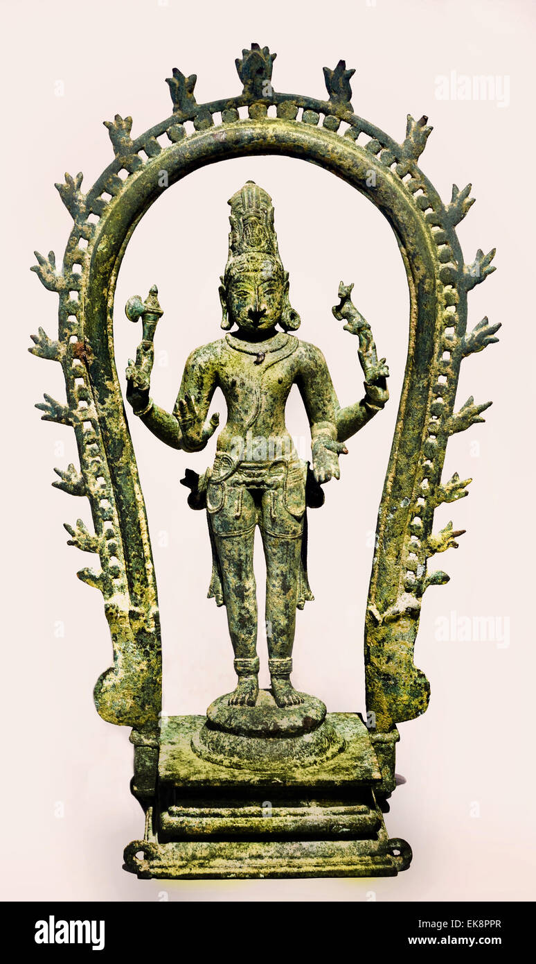 Shiva with the Moon in his Hair India Tamil Nadu Chola Style 11th Century bronze - Stock Image