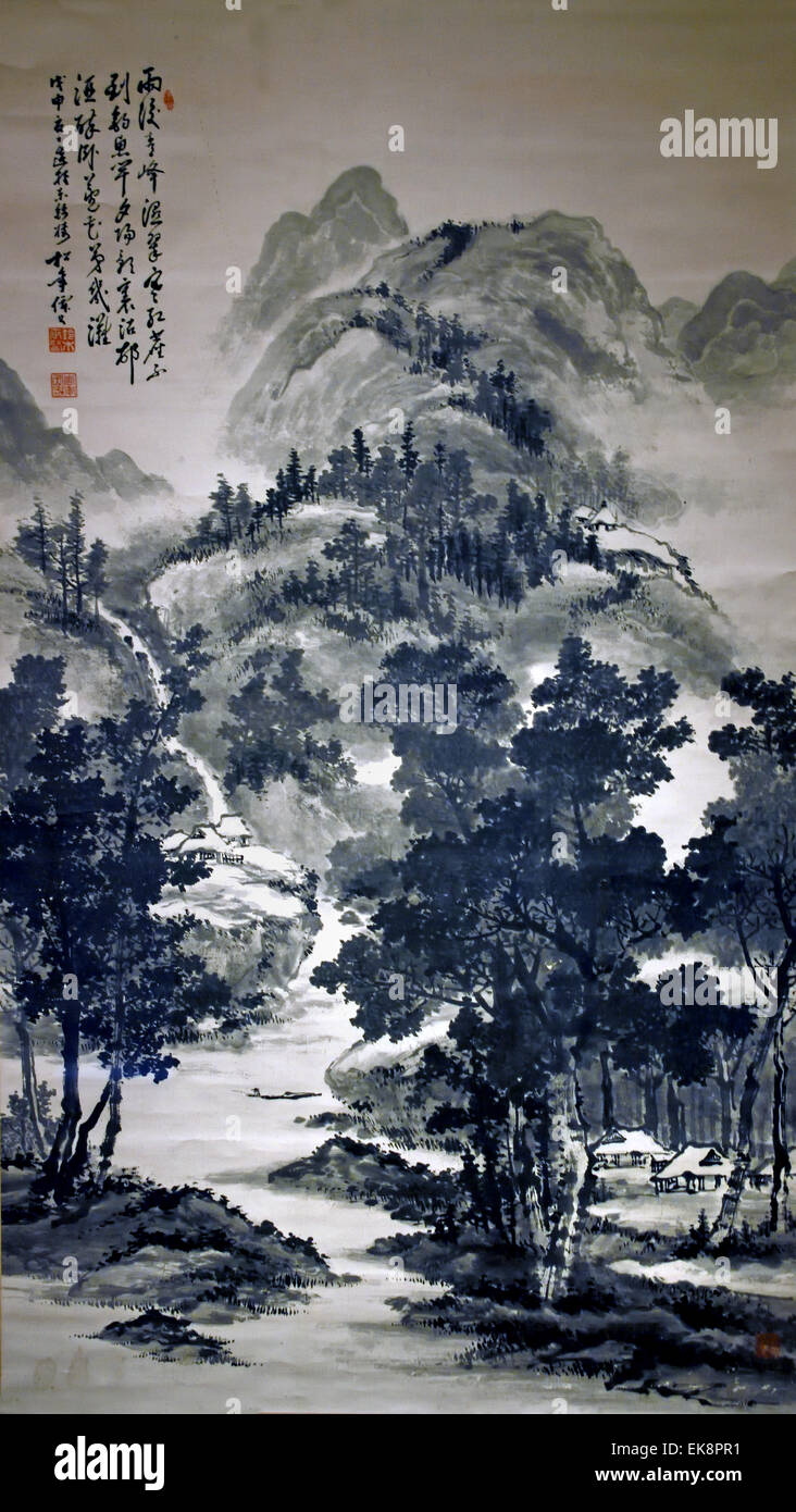 Summer Landscape 1908  Suzuki Shonen 1848-1918 Japan Japanese ( A mountain landscape with a stream, resulting in - Stock Image