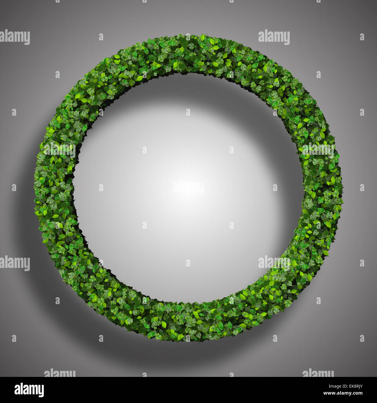 Ring made from green leaves isolated on white background. 3d render. - Stock Image