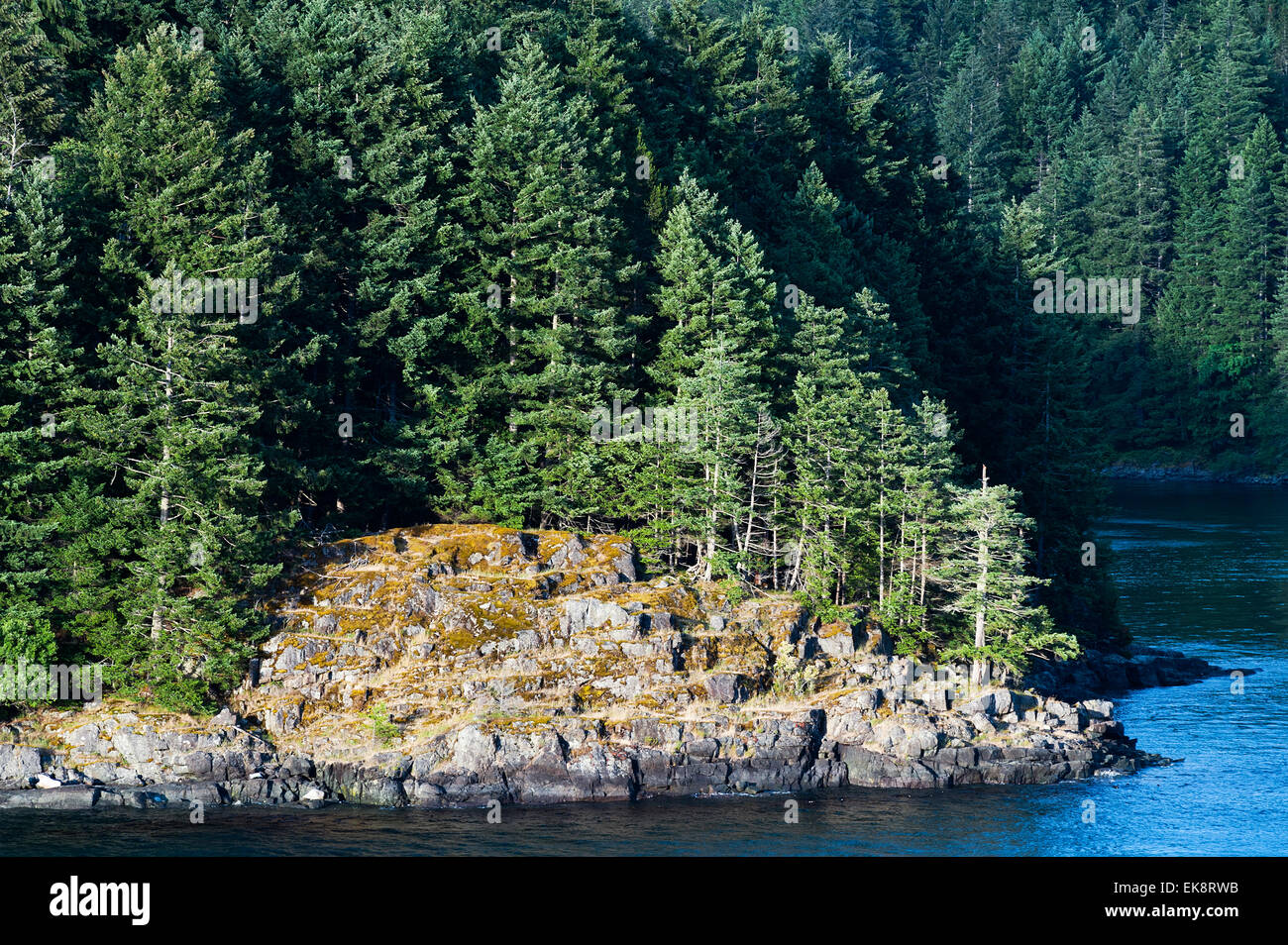 Canadian coast along the Inside Passage, British Columbia, Canada - Stock Image