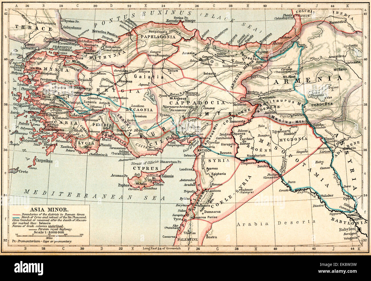 Map Of Asia Minor.Map Of Asia Minor Under The Greeks And Romans Stock Photo 80715261