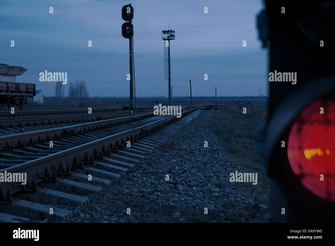 stop signal lamp in dusk - Stock Image