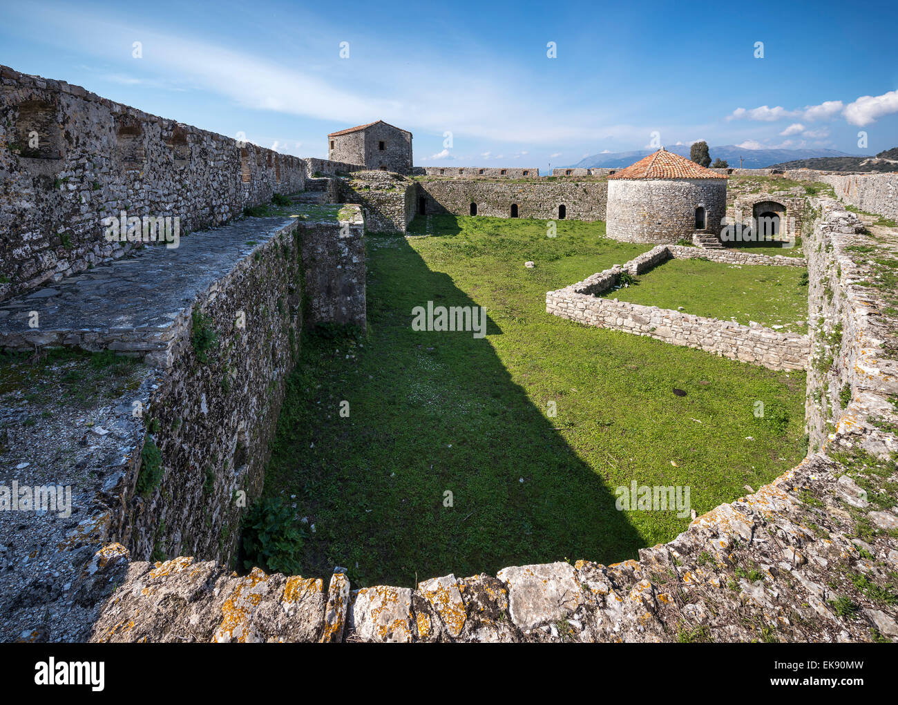 Interior of the triangular fortress at Butrint in Southern Albania. - Stock Image