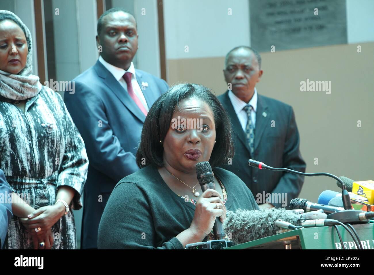 Nairobi, Kenya. 8th Apr, 2015. Kenya's Defense Cabinet Secretary Rachael Omamo (front) speaks during a press - Stock Image