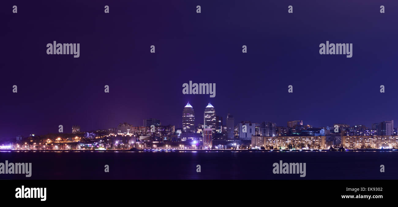 Night Skyline of Dnipropetrovsk and river Dnipro, Ukraine - Stock Image