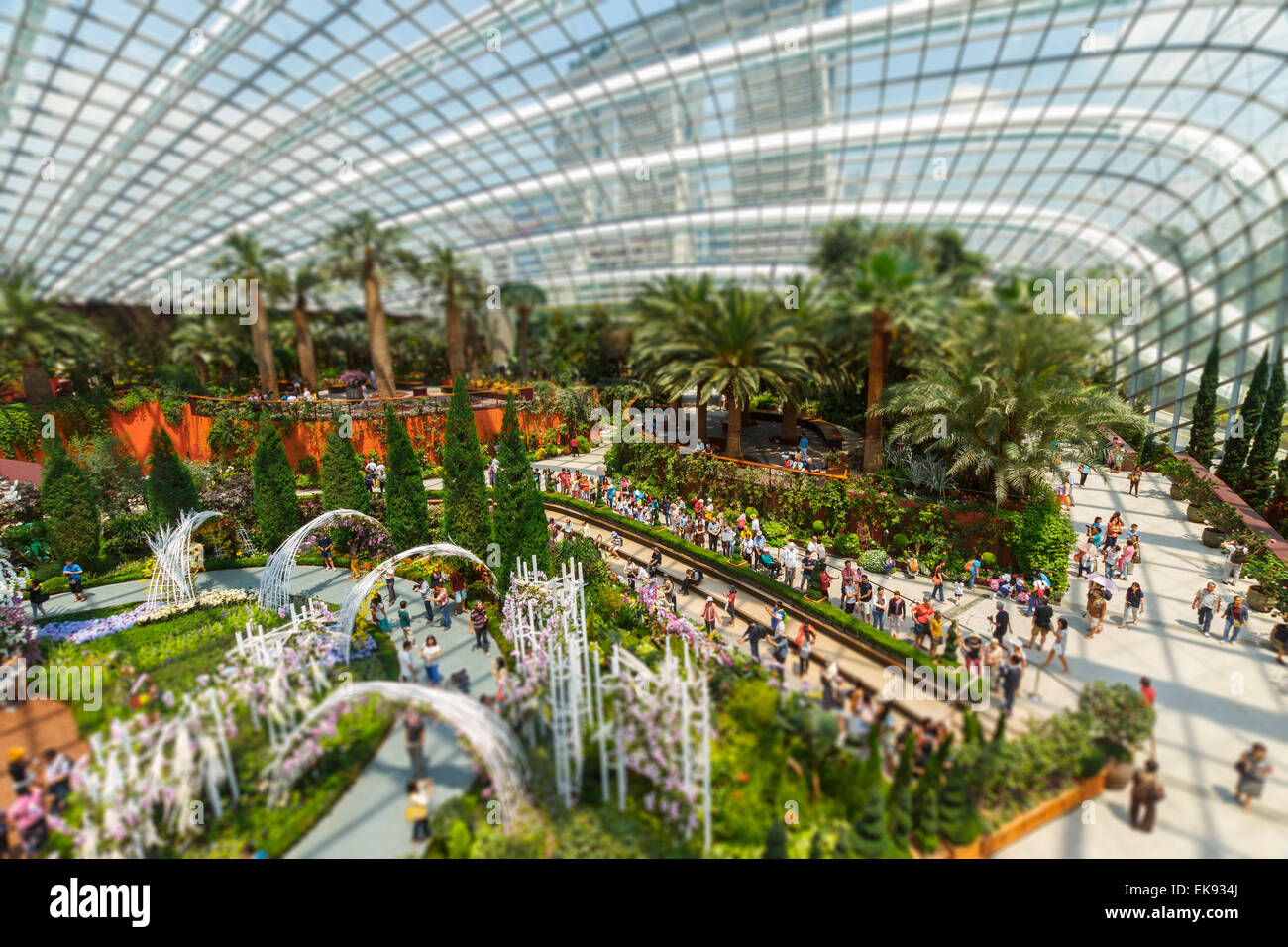 Flower Dome conservatory.  Gardens by the Bay. Singapore, Asia. - Stock Image