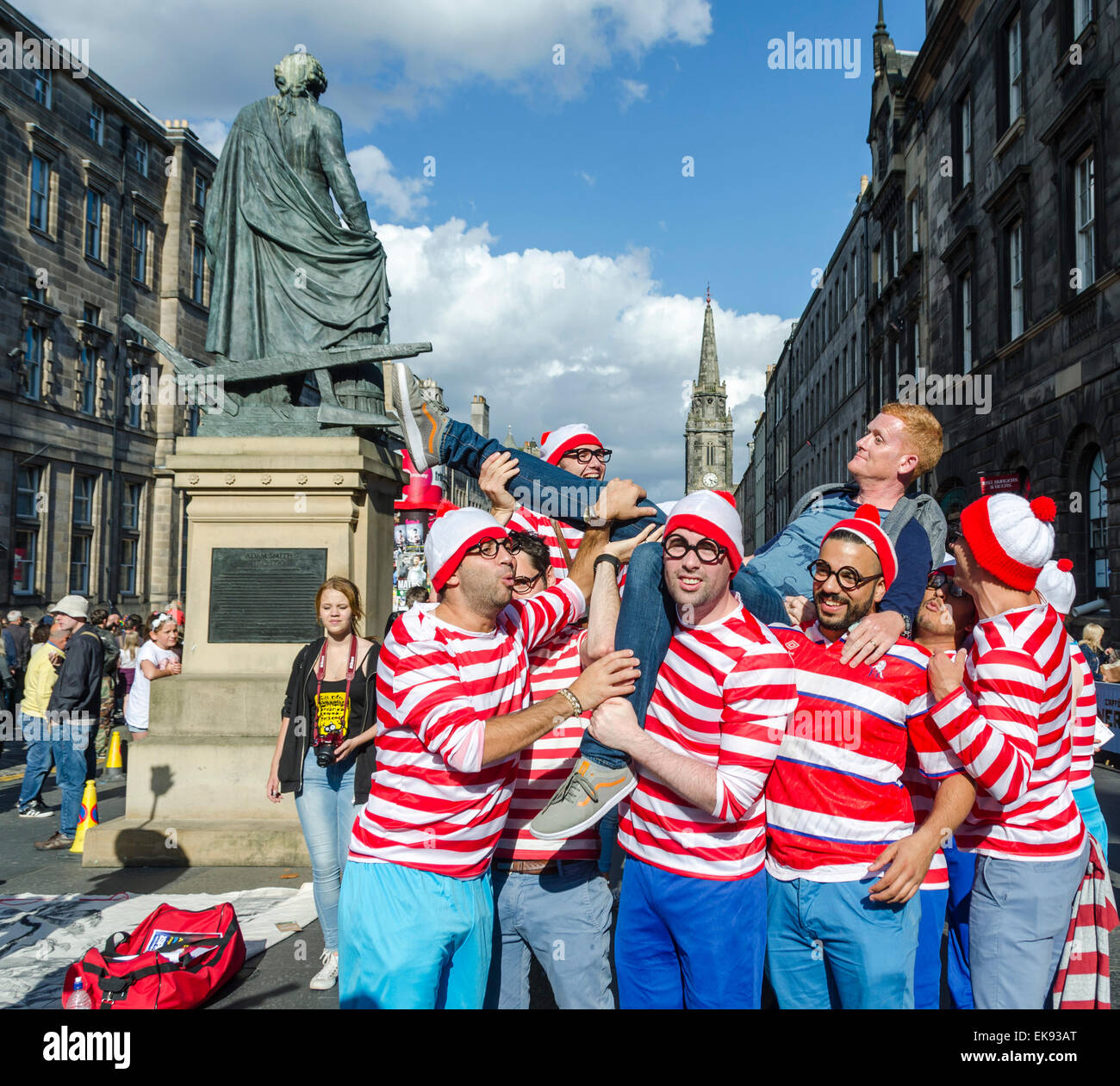 Troupe of Wallys loose on the streets of Edinburgh during Festival Season - Stock Image