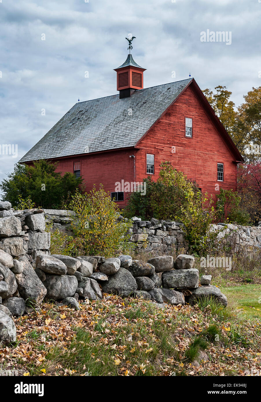 Rustic red barn, New Hampshire, USA - Stock Image
