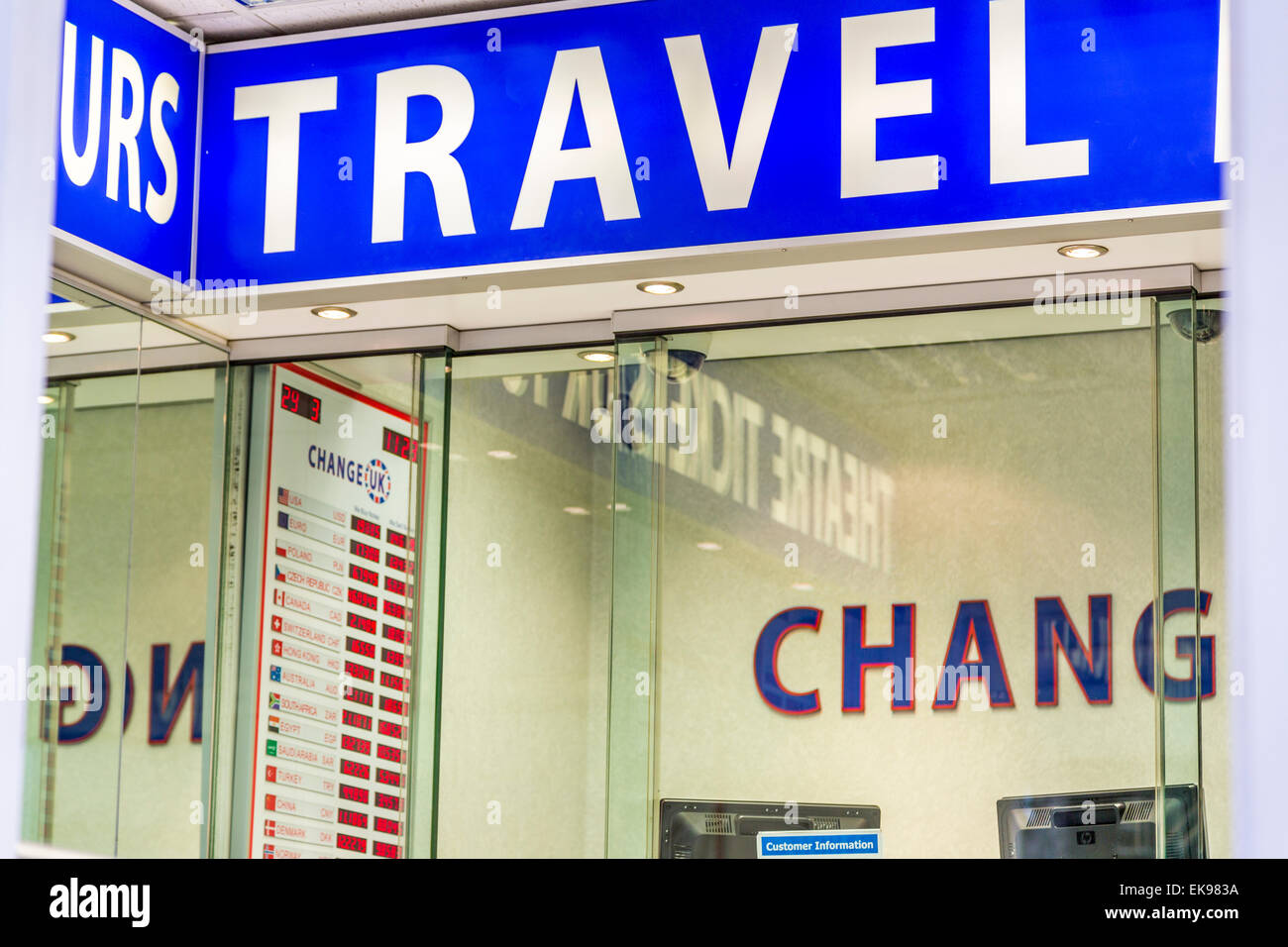 An Interior shot of a Travel Bureau De Change London England UK - Stock Image