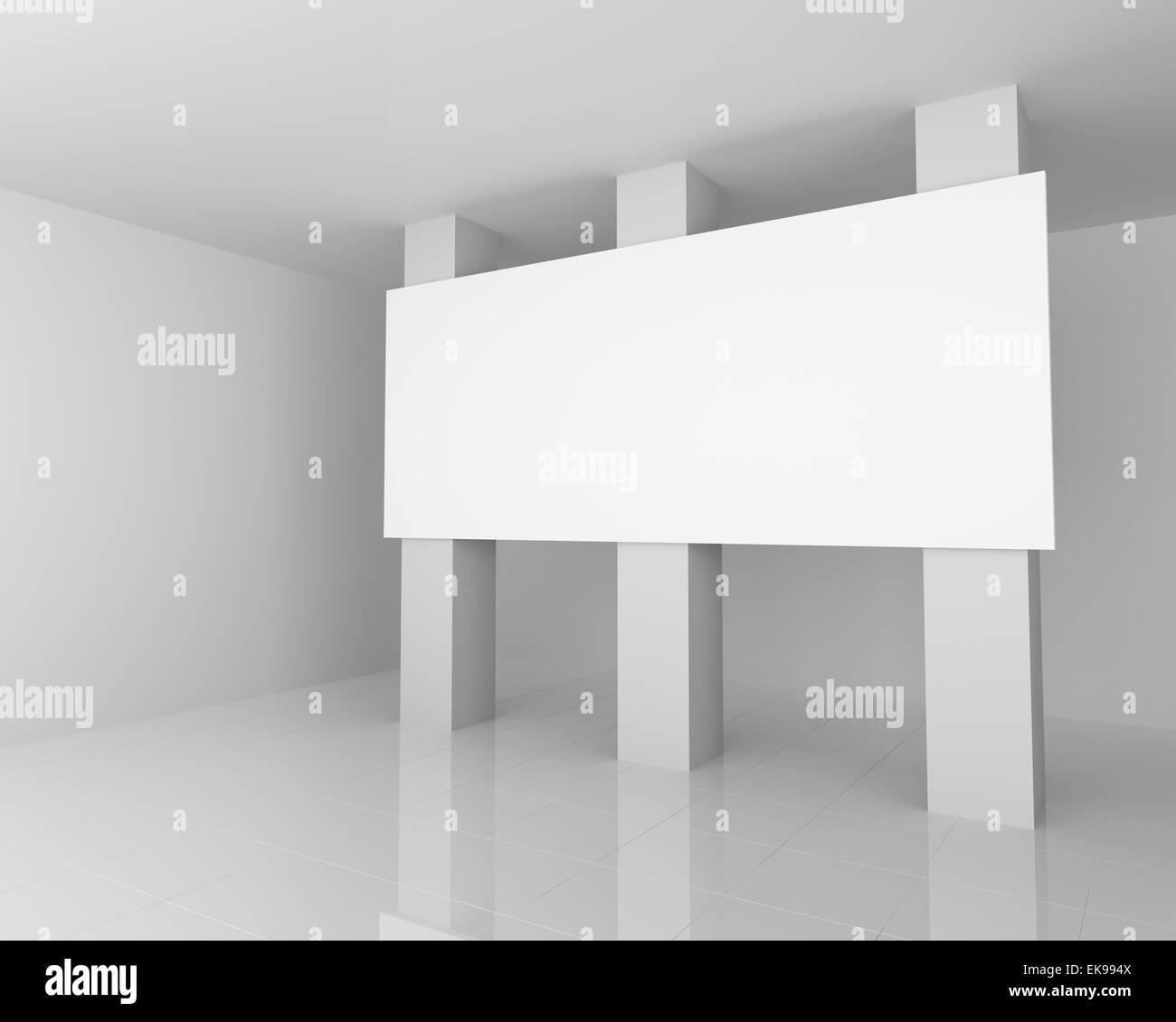 Big White Empty Billboard in the White Interior - Stock Image