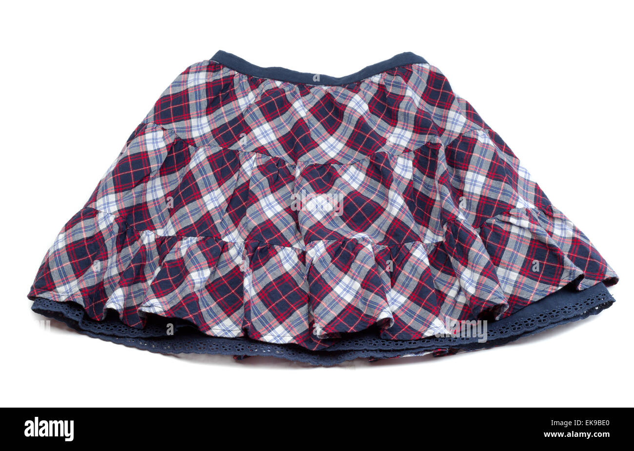 bf4c9a6c8262fc Red and blue plaid skirt. Isolate on white Stock Photo: 80726520 - Alamy