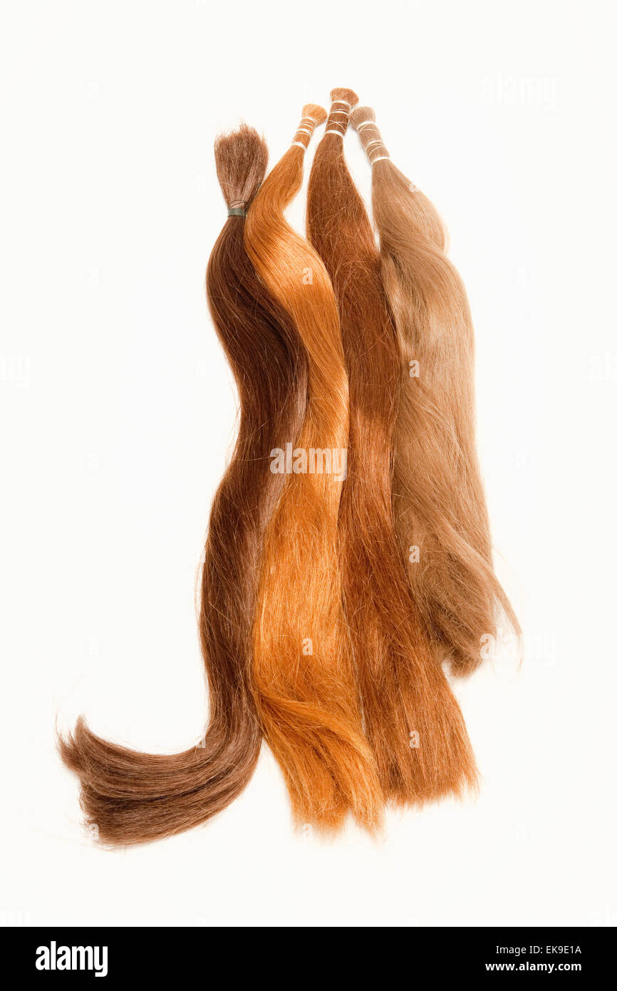 Real Human Hair Used for Production of Wigs - Stock Image