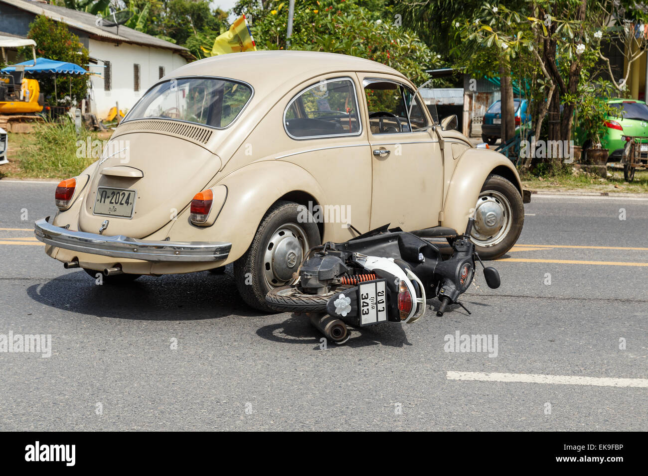 PHUKET, THAILAND - DECEMBER 17 : Car accident on the road