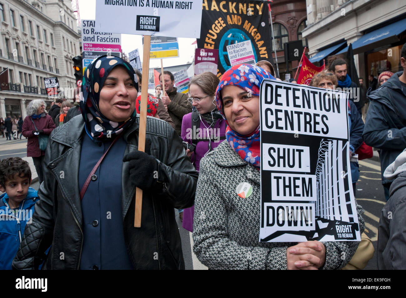 Thousands march through London on UN Anti-Racism Day protesting Racism, Fascism, Islamophobia  and anti-semitism. - Stock Image