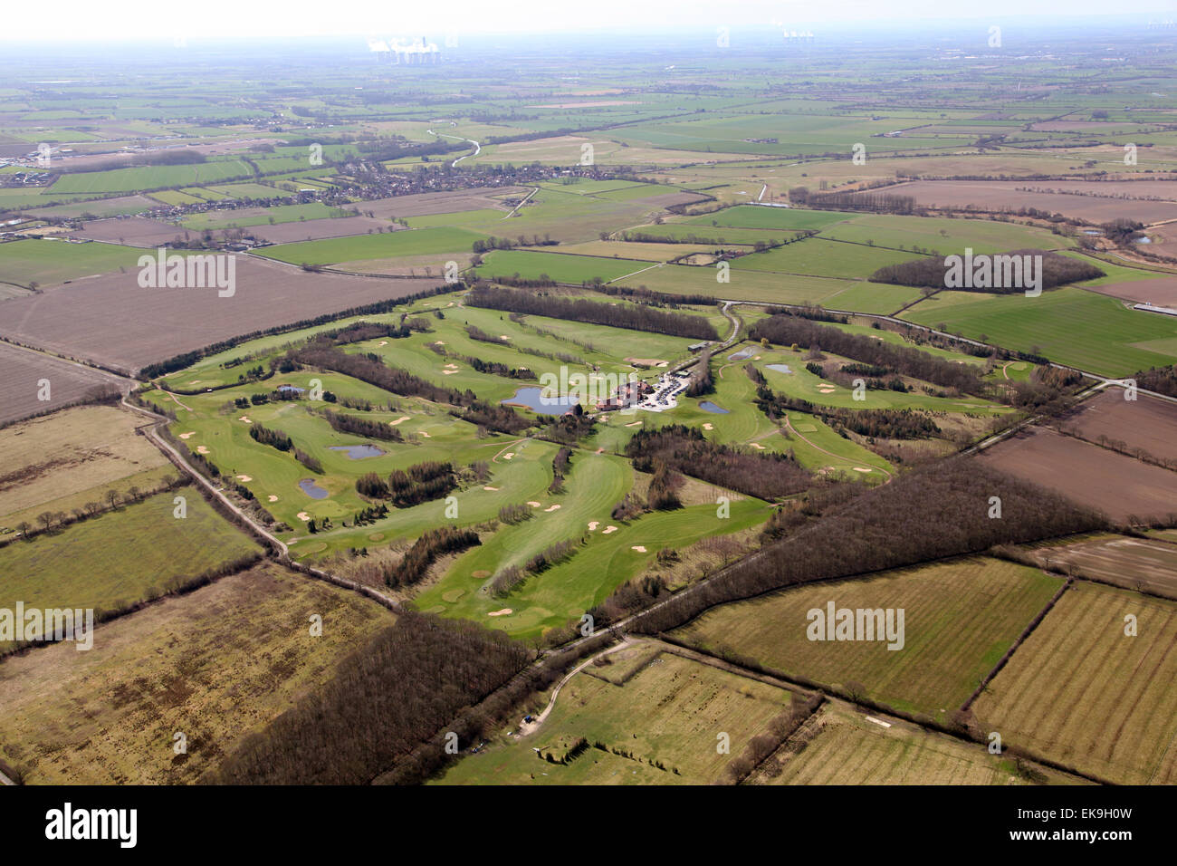 aerial view of The Oaks Golf Club & Spa, Aughton, North Yorkshire - Stock Image