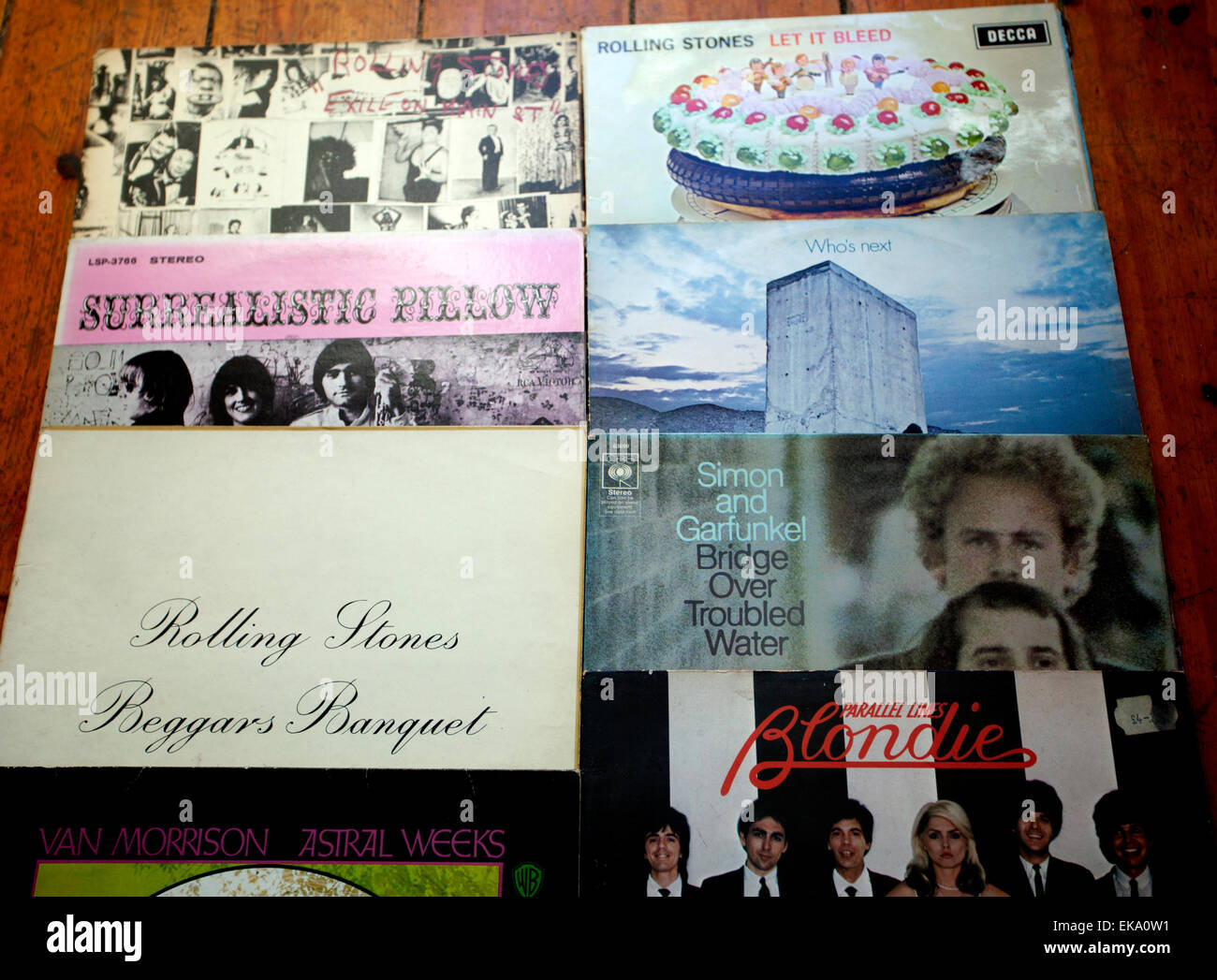 Classic rock and pop music LPs of the 60s and 70s, London Stock Photo